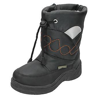 Jongens sneeuw leuke Tie Front geborduurde Design sneeuw laarzen