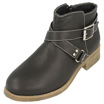 Girls Spot On Buckle Strap Ankle Boots