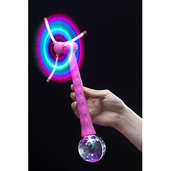 Windmill with pink disco ball lights 28 cm