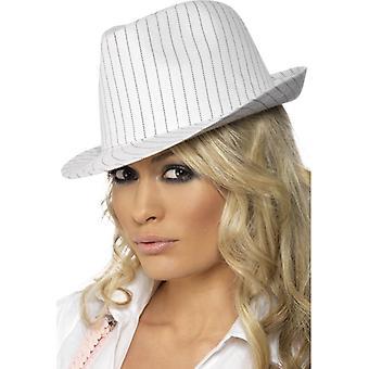 20er Jahre Hut Gangsterhut mit schwarzen Nadelstreifen Mafia Damenhut