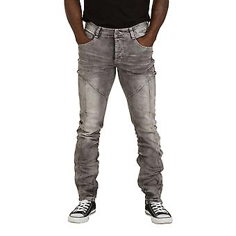 Mens Regular Fit Grey Wash Jeans Denim with stretch