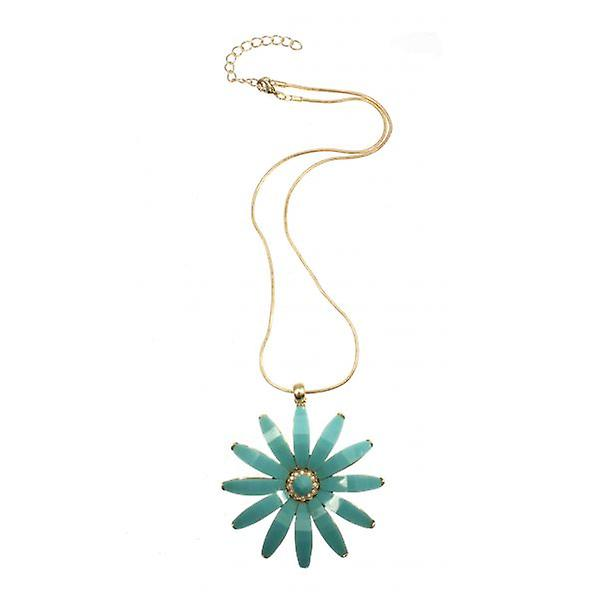 W.A.T Gold Style Turquoise Coloured Flower Necklace