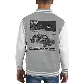 Haynes Workshop Manual VW Golf GTI 78 to 84 Black Kid's Varsity Jacket