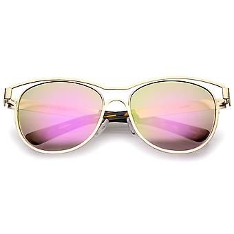 Modern Open Metal Colored Mirror Lens Horn Rimmed Sunglasses 56mm
