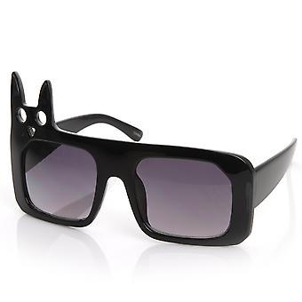 Luxe Inspired Fashion Kitty Cat Head Large Square Oversized Sunglasses