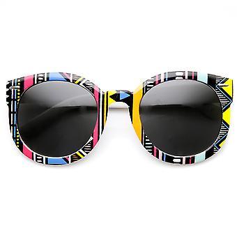 Womens Oversized Native Print Fashion Round Sunglasses