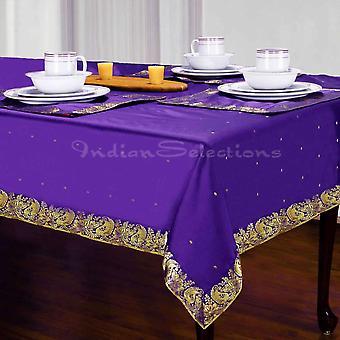Lila - handgemachte Sari Tischdecke (Indien)
