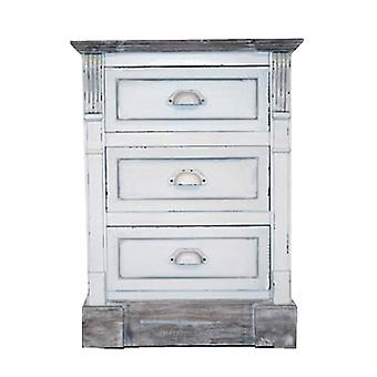 Charles Bentley White Shabby Chic Vintage French Style Bedside Table 3 Drawer Bedroom Furniture - Matching Pieces Available