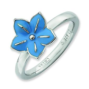 Sterling zilveren stapelbare expressies Morning Glory Ring - Ringmaat: 5 tot 10