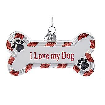 Jeg elsker min hund ben formet Christmas Holiday Ornament ædle perler