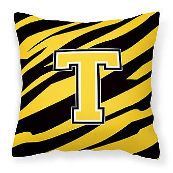 Monogram Initial T Tiger Stripe - Black Gold Decorative   Canvas Fabric Pillow