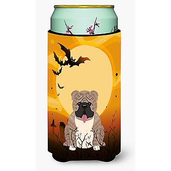 Halloween English Bulldog Grey Brindle  Tall Boy Beverage Insulator Hugger