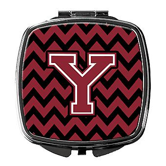 Letter Y Chevron Garnet and Black  Compact Mirror