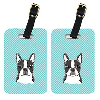 Pair of Checkerboard Blue Boston Terrier Luggage Tags