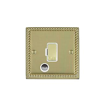 Hamilton Litestat Cheriton Georgian Polished Brass 1g 13A Fuse + CO PB/WH