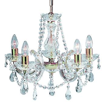 5 luce lucido ottone Marie Therese Crystal raccordo - Searchlight 699-5