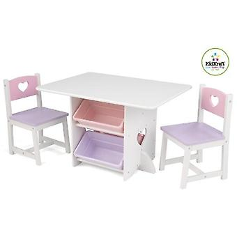 KidKraft-kids ' table and 2 high chairs with hearts