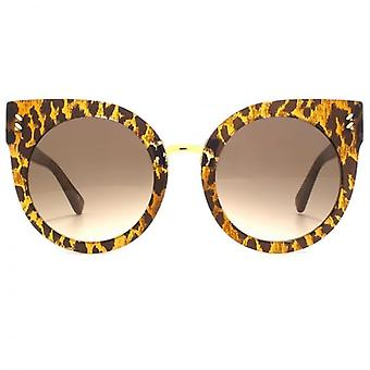 Stella McCartney Essentials Peaked Round Sunglasses In Leopard