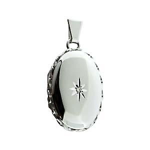 9ct White Gold 29x22mm diamond star set oval twisted wire edge Locket
