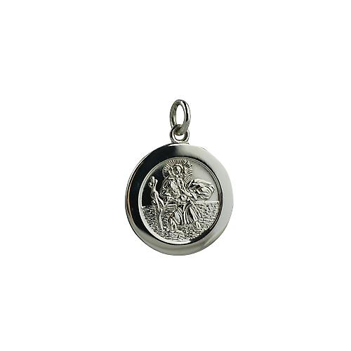 9ct White Gold 21mm round St Christopher Pendant with car boat train plane on back