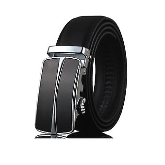 Men's adjustable black leather belt and buckle steel black and silver
