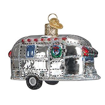Old World Christmas Vintage Look Trailer Camper Home Glass 3.5 Inch Ornament