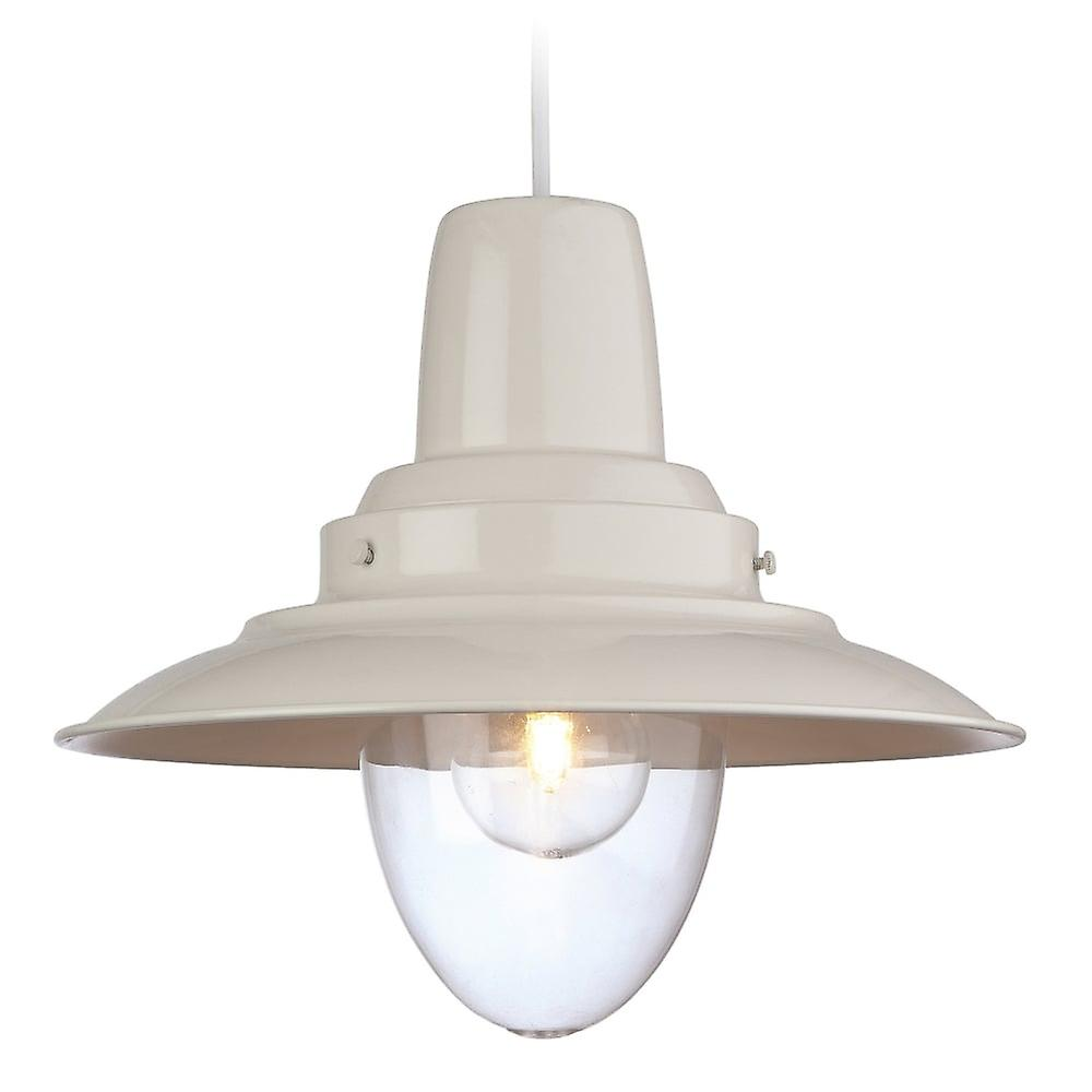 Firstlight Fisherhomme Pendant Finished In Cream With A Clear Glass Lamp Enclosure