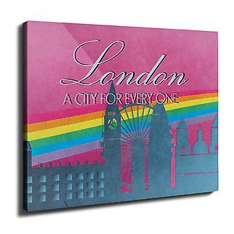 Pride Love Urban London Wall Art Canvas 50cm x 30cm | Wellcoda