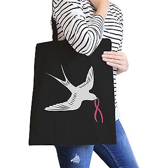 Swallows Birds Pink Ribbon Black Breast Cancer Support Canvas Bag