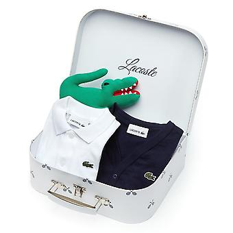 Lacoste Boys Lacoste Kids White Polo And Navy Cardigan Gift Set