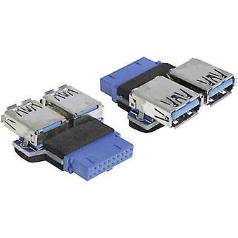 Delock USB 3.0 Adapter [1x USB 3.0 port internal 19-pin - 2x USB 3.0 port A] 65324