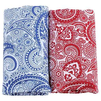 David Van Hagen Classic Paisley Handkerchief Set - Blue/Red