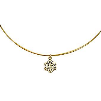 Gemshine - Damen - Halskette - Anhänger - SCHNEEFLOCKE - 925 Silber - Vergoldet - 1,3 cm