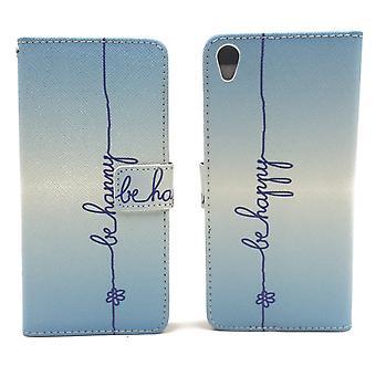 Bolso de la caja móvil para Letras de telefonos Sony Xperia XA ser feliz azul