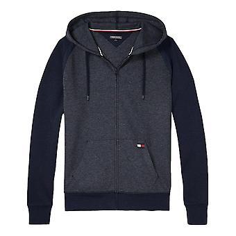 Tommy Hilfiger Mens monograma Zip sudadera con capucha - gris/azul marino