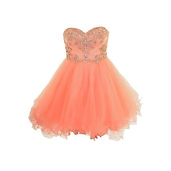 Kurze Mini Boobtube Chiffon Puff Tutu Prom Bridesmaid Mesh Cocktail Party Kleid