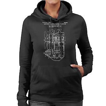 Ford Internal Combustion Engine Patent Blueprint Women's Hooded Sweatshirt