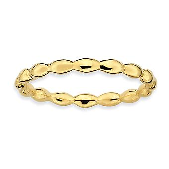Sterling Silver Polished Patterned Stackable Expressions Gold-Flashed Rice Ring - Ring Size: 5 to 10