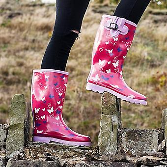 Spylovebuy Womens Pink Butterfly Wellies Wellington Boots - Rubber