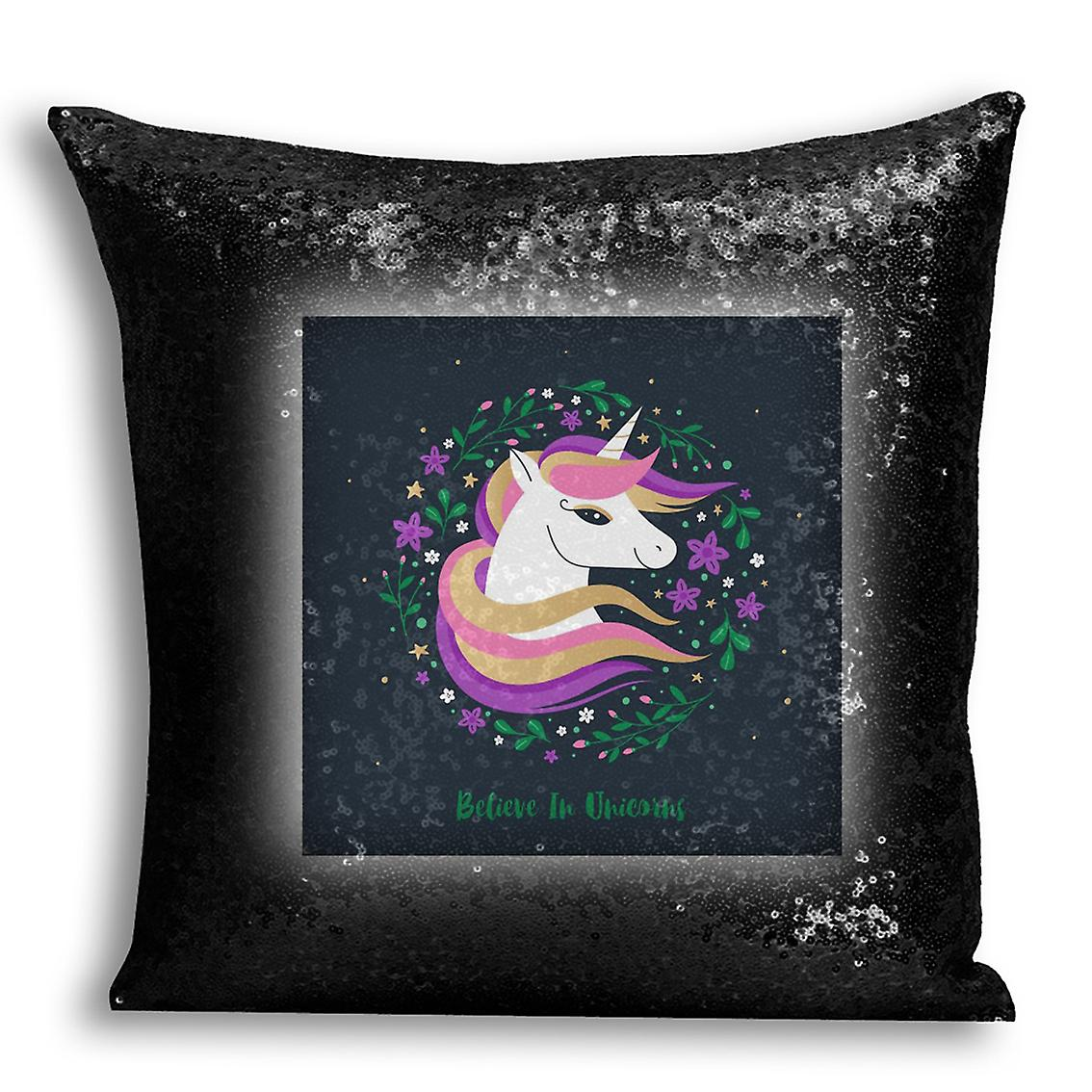 I Cover Home tronixsUnicorn Sequin Printed Design With CushionPillow Black 10 For Decor Inserted QrxWdCoeB