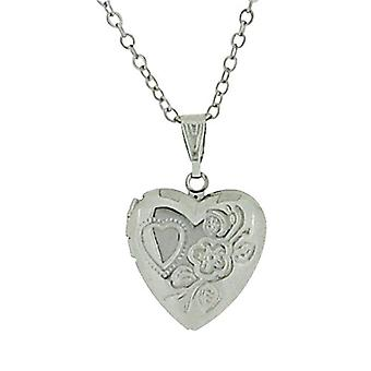 The Olivia Collection Ladies Silvertone Engraved Heart Locket Pendant, 18