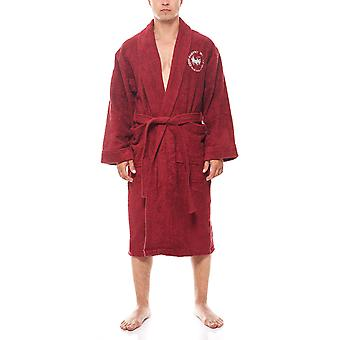 Harvey Miller Polo Club of cozy men's sauna coat with belt Bordeaux
