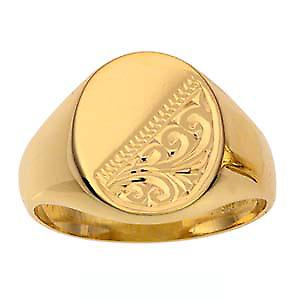 9ct Gold 15x12mm gents engraved oval Signet Ring Size R