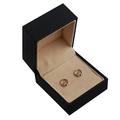 9ct Gold 9mm diamond cut Claddagh stud Earrings