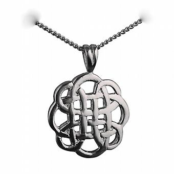 Silver 20mm round Celtic Pendant with a curb Chain 24 inches