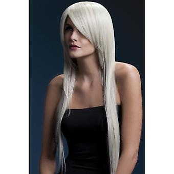 Fever Amber Wig, Blonde, Long Straight with Feathered Fringe, 71cm / 28in Fancy Dress Accessory