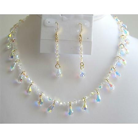 Gold AB Crystals Teardrop Bridal Jewelry AB Crystals Necklace