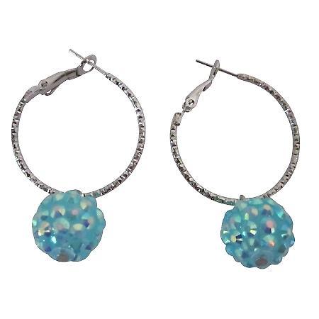Chinese Pave Ball Hoop Earrings Cherish Fun Wearing