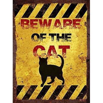 Vintage metalen wand Sign - pas op voor de kat
