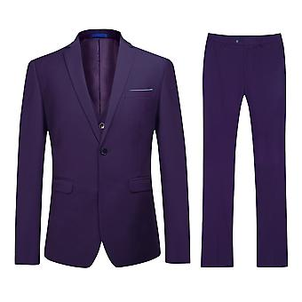 Allthemen Men's Purple One-Button Slim Business Casual 3-Piece Suit Blazer Vest Trousers